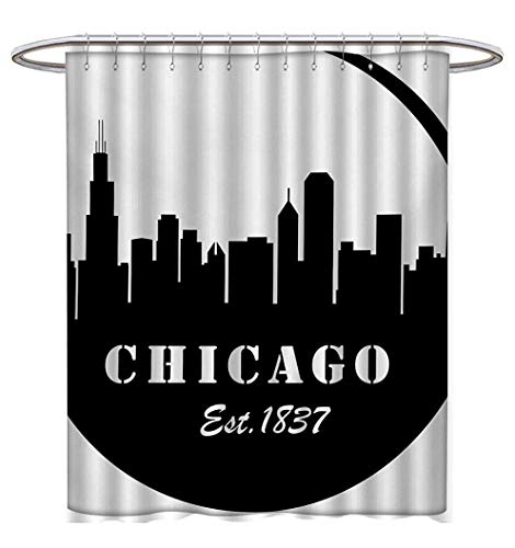 Anhuthree Chicago Skyline Shower Curtain Customized Minimalist Style Urban Plan View City Chart Sketch American Abstract Fabric Bathroom Set with Hooks W36 x L72 Black and White