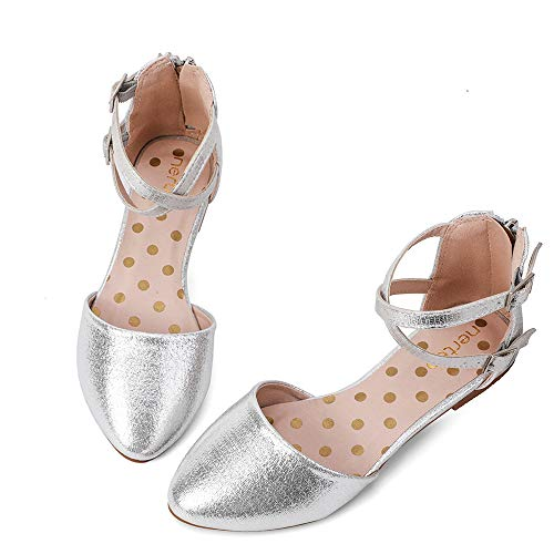 nerteo Girl's Pretty Glitter Ballet Flats Ankle Strap Dress Shoes Sandals (Toddler/Little Kid/Big Kid) Sliver 3 M US Little Kid -