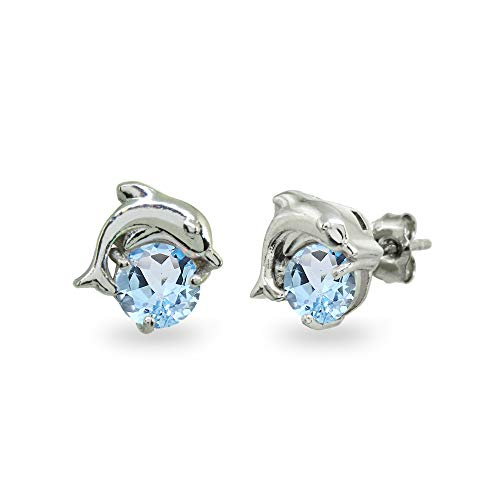 Sterling Silver Blue Topaz Round 5mm Polished Dolphin Stud Earrings for Women Girls