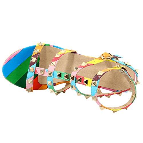 AIYOUMEI Damen T-spangen Blockabsatz Knöchelriemchen Sandalen mit Nieten und Schnalle Chunky Heel Elegant Modern Sommer Schuhe Regenbogen