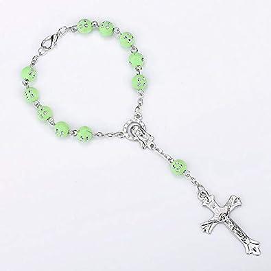 Cristiano Católico Rosario Pulsera Cruz Colgante Colorido Acrílico Cristal Perlas Pulseras para Las Mujeres Joyería