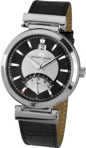 Men Watches Jacques Lemans - Jacques Lemans Men's 'Verona' Quartz Stainless Steel and Leather Casual Watch, Color:Black (Model: 1-1697A)