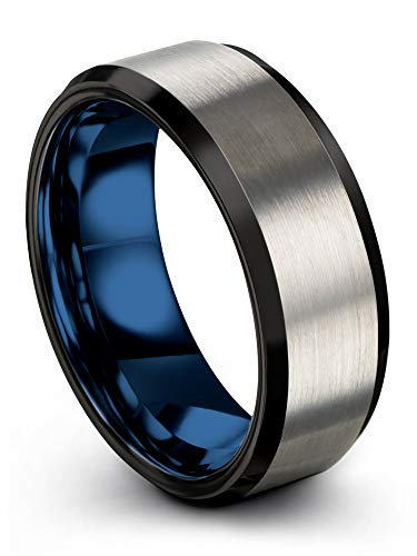 Chroma Color Collection Tungsten Carbide Wedding Band Ring 8mm for Men Women Blue Interior with Black Grey Exterior Bevel Edge Brushed Polished Comfort Fit Anniversary Size 14