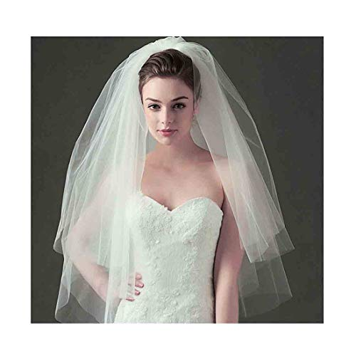 (Olbye Women's Wedding Veil Two Tier Fingertip Veil Raw Edge Veils for wedding Soft Tulle Bubble Veil (Ivory))