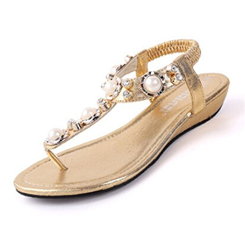 fordbox Women's Studded Pearl Rhinestone Cut Out Dress Flat Thong Sandals Gold9 B(M) US