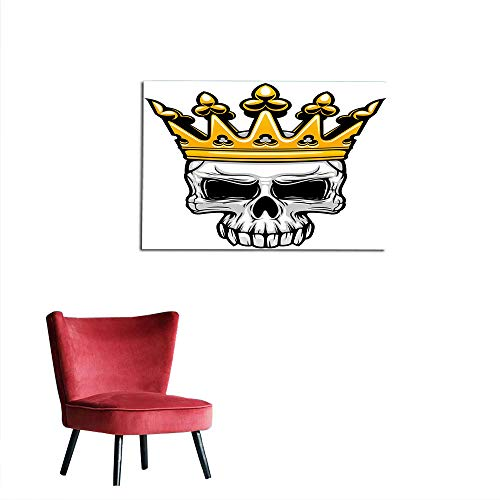 (kungfu Decoration Wallpaper King Queen Size,Hand Drawn Crowned Skull Cranium with Coronet Tiara Halloween Themed Image,Golden and Light Grey Space Poster W47.2 x)