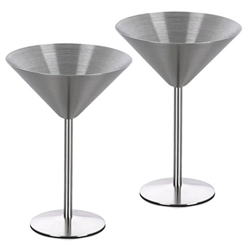 Gorgeous Vintage Stainless Steel Martini Cup Cocktail Glass Goblet Champagne Glasses Bar Glasses,8 oz (Pack of 2) by Mishiner