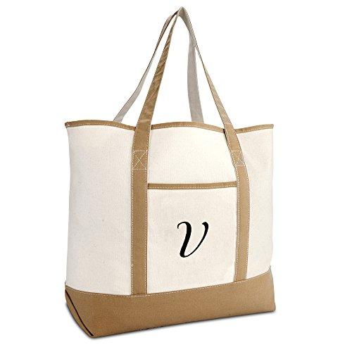 DALIX Women's Natural Tote Bag Shoulder Bags Brown With Monogram Letter V