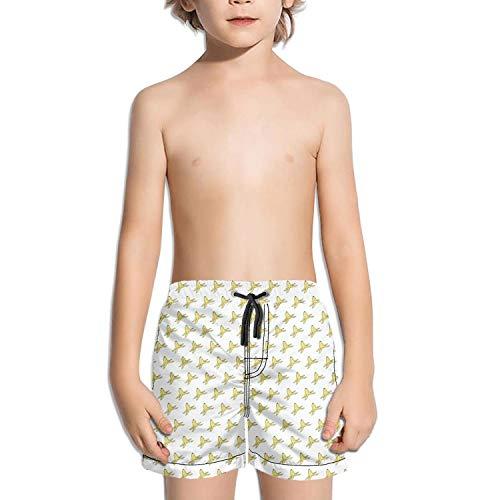 SA/Cool Attracting Banana Peel Funny Yellow Boys Girls Swimming Trunks Beach Board Shorts Fully Lined Absorbent Printed Graphic Kid's Short Pants