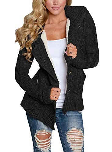 Astylish Womens Hooded Cable Knit Button Down Outwear Sweater Cardigans Coats Black Small