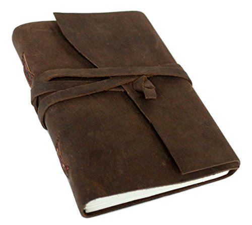 Large Antique Dark brown Crazy-Horse II Leather Journal (Handmade) - Leather Cord Coptic Bound and leather tie closure