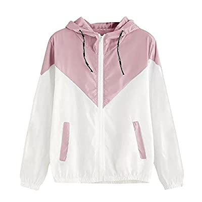 Women's Color Block Waterproof Raincoat Casual Thin Drawstring Hooded Zip up Sports Rian Jacket Windproof Windbreaker