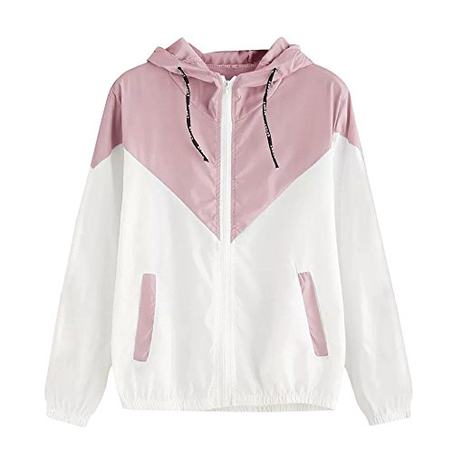 DONTAL Women Hooded Coat Long Sleeve Patchwork Thin Skinsuits Zipper Pockets Sport Outwear Pink ()