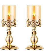 NUPTIO Świeczniki filarowe ze szkłem, zestaw 2 szt. złoty świecznik huraganowy nowoczesny wystrój domu prezenty, świecznik na rocznicę ślubu parapetówkę przyjęcie dekoracja stołu prezenty dla niej