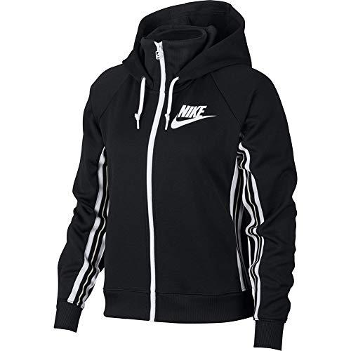 Nike Women's Sportswear Full-Zip Hoodie (Black/Light Bone/White, XS)