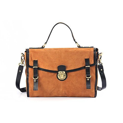 """Assots 'QUINTON' Genuine leather quality soft suede large 15 """" Satchel with detachable shoulder strap and Top handle, push lock ideal for 14 """" Laptop, Files, office, Brown Blue Pink."""