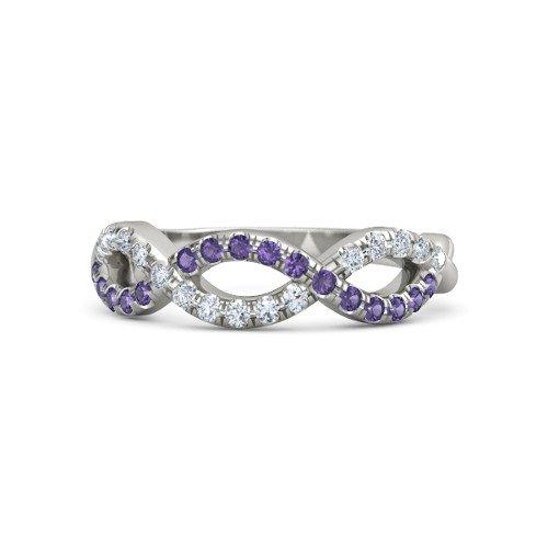 14K White Gold Wedding or Anniversary Ring with Iolite & Diamond â€