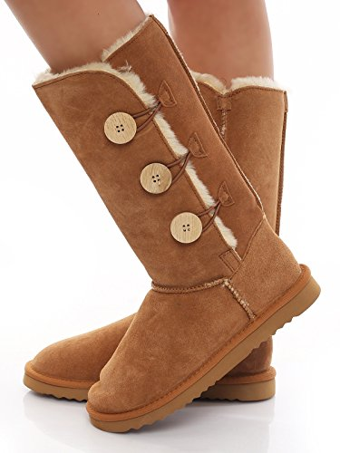 SKUTARI Damen - Winterstiefel Gefüttert Button Boots Leder Schneestiefel Langschaft, Beige , Größe 40