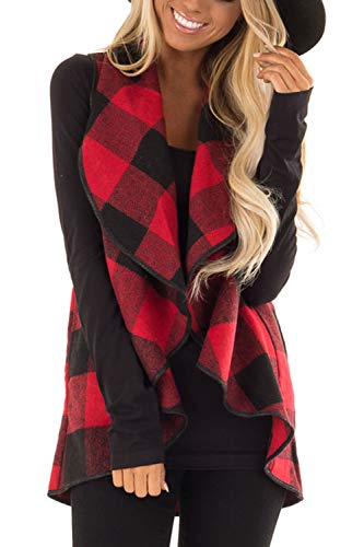Womens Sleeveless Vest Plaid Hem Drape Open Front Cardigan (Red and Black, Large)