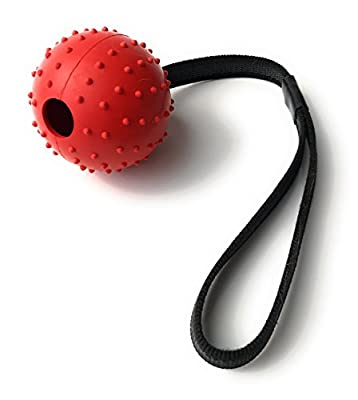 Durable Rubber Ball with Strap Rope Handle for Obedience Training, Tug of War, or Easy Throw for Dogs Puppies, Promotes Good Behavior as a Reward