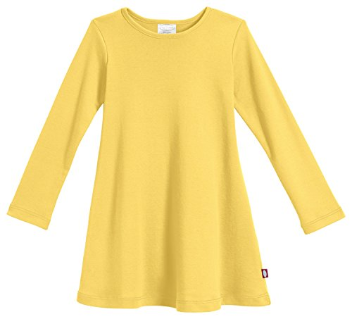 City Threads Little Girls' Cotton Long Sleeve Dress for School or Play for Sensitive Skin SPD Sensory Friendly, Yellow, (Girls Dress Yellow)