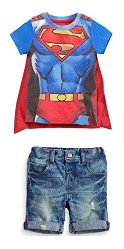 Little Big Boys Superman Print Summer Outfit Tshirt Jeans Blue 4t -