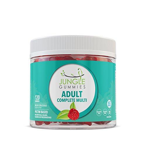 Jungle Gummies | Adult Multivitamin | Natural Supplement with Vitamin B12, Biotin, Folic Acid and Vitamin D | Gelatin Free, Non-GMO, Gluten Free, Allergen Free | 60 Gummies