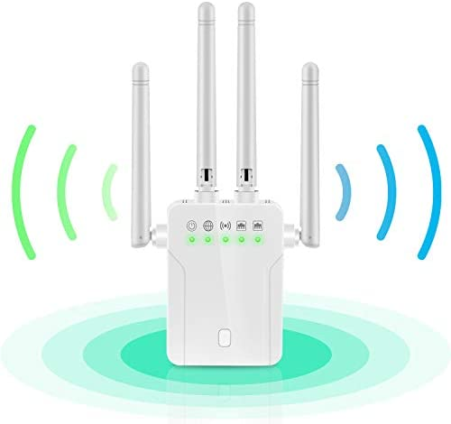 WiFi Booster - WiFi Range Extender,Super Signal Booster, 1200 MBPS 2.4 & 5GHz Wireless Internet Amplifier - Covers 20 Devices with 4 External Advanced Antennas, LAN/Ethernet Ports WiFi Repeater
