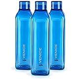 Cello Venice Plastic Water Bottle, 1 Litre, Set of 3, Blue