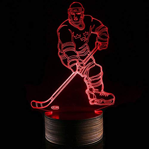 Novelty Lamp, 3D LED Lamp Hockey Player Optical Illusion Night Light, USB Powered Remote Control Changes The Color of The Light, Ideal Gift for Children's Friends and Family,Ambient Light by LIX-XYD (Image #3)
