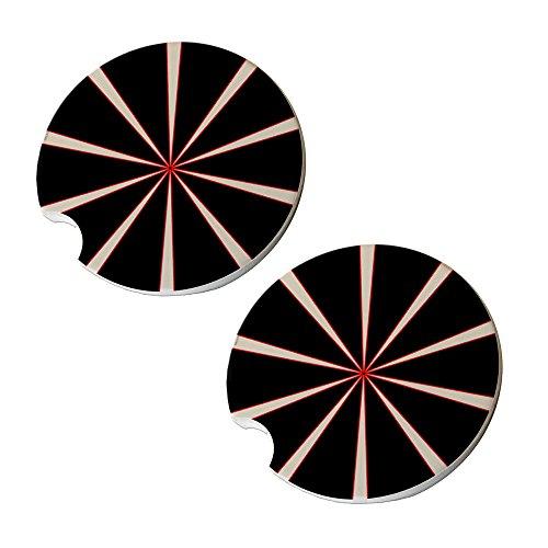 Black Red Spiral Hatchet Car Coasters - Round Sandstone Car Coaster Set