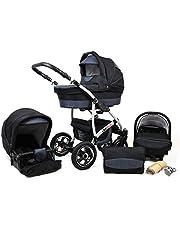 Travel System Barnvagn 3 i 1 komplett set med bilstol Isofix babykorg babybärare Buggy Larmax av ChillyKids svart & grafit 4-i-1 bilbarnstol + Isofix