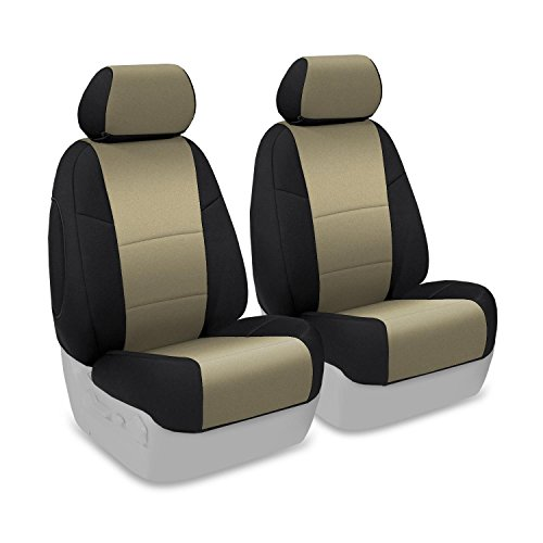 Coverking Custom Fit Front 50/50 Bucket Seat Cover for Select Ford Fusion Models - Neoprene (Tan with Black Sides)