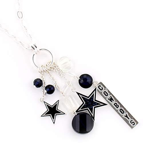Drop of Silver NFL Football Dallas Cowboys Star Cluster Crystal Logo Necklace in Dark - Pendant Dallas Star Cowboys