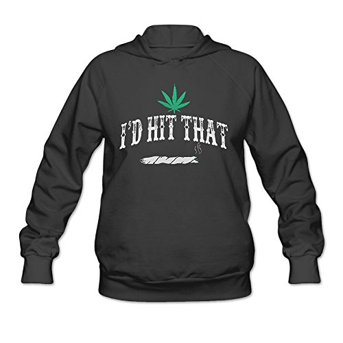 MingYue Women's I'd Hit That Weed Soft Long Sleeve Pullover Hooded Sweatshirt Black Size L