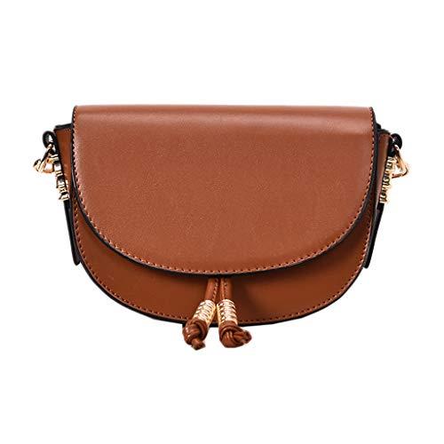 (Messenger Bag for Lady,Freesa Fashion Vintage Oil Skin Handbag New Wild Bag Crossbody Messenger Shoulder Bag Wild Lady Crossbody Bag Ocean Net Red Saddle Bag Vintage Oil Leather Bag (Brown))