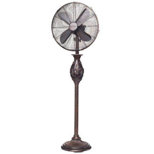 DecoBREEZE Pedestal Fan 3 Speed Oscillating Fan, 16 In, Fleur De Lis ()