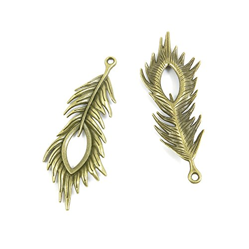 20 PCS Jewelry Making Charms Findings Supply Supplies Crafting Lots Bulk Wholesale Antique Bronze Tone Plated G8IJ6 Peacock Feathers from LOTING CHARMS