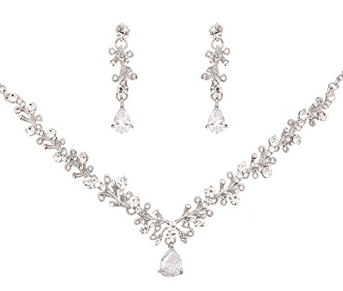 Wedding Jewelry Sets Bride Necklace and Earrings Clear Crystal Party Accessories by Ever Girl