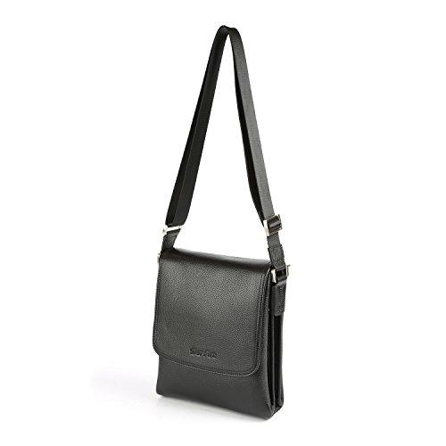 Carteras de diseñador de cuero genuino OTTO, Bolsa de mensajero unisex, Bolso clásico de hombro, Bolso de viaje, 34 cm (Negro) Negro