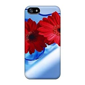Premium Tpu Red Gerberas In Blue Vase Cover Skin For Iphone 5/5s