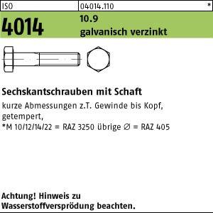 25 Sechskantschrauben ISO 4014 8.8 verzinkt M16x100