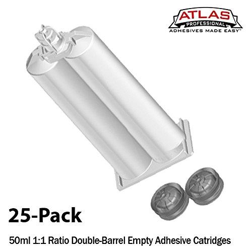 Atlas Pro 50ml-25 Pack-Empty Dual-Barrel Cartridge ONLY-1:1 Mix Ratio
