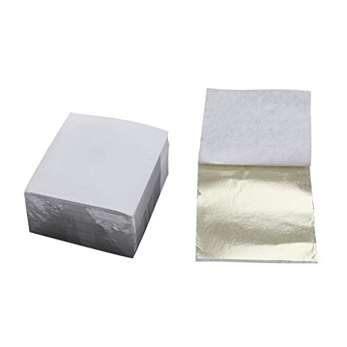 MagiDeal Silver Gold Leaf Foil Wrapping Paper Gilding for Hotel Upholstery Home Ceiling Wall Decoration 9x9 cm Pack of 500 - Light gold, 9 x 9 cm