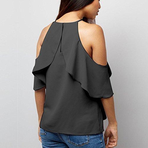 Taille Blouse Gland Noir Qitun Grande Bretelles Hauts sans Femme Manches Lache Chemisier Shirt Mousseline qffZwEv