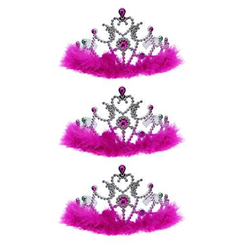 Hot Pink Princess Girls Dress Up Crown Tiara With Fur Set of 3 (Princess Crown Fur)