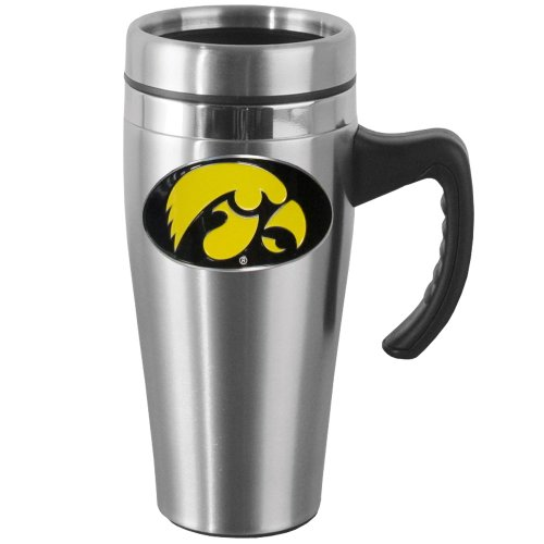 NCAA Iowa Hawkeyes Steel Travel Mug with -