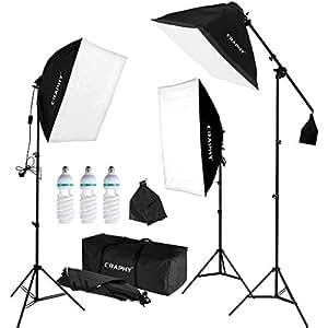 CRAPHY Softbox Kit Luz de Iluminación Estudio Fotografía, con 3 Lámpara Fotografia 135W, 3 Ventana de Luz 50cm x 67cm, 3 Trípodes, 1 Bolsa de Transporte