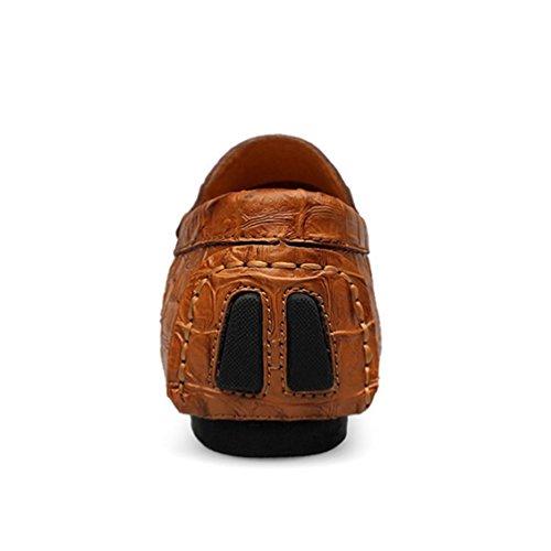 Moda Cuero Slip Hombres Zapatos Transpirable Pisos ConduccióN Marrón Hombres Casual Zapatos Mocasines Barcos xFw0q08Rz