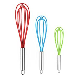 EXVI Silicone Balloon Whisk Set Wire Heat Resistant Egg Whisk - Red & Bule & Green